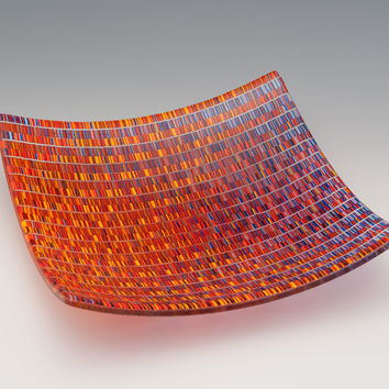 Medium Tapestry Square Bowl in Jewel Tones by Richard Parrish: Art Glass Bowl | Artful Home