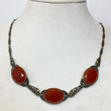Antique Sterling Silver Carnelian Necklace Vintage Art Deco Germany Marcasite Choker Red Cornelian Summer Estate Wedding Bridal Jewelry 30's