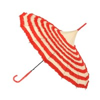 Topwedding 36'' Retro Hook Handle Striped Pagoda Parasol Rain Sun Wedding Umbrella,Beige and Red