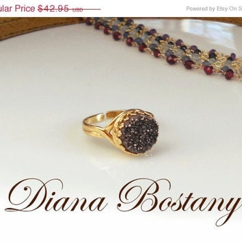 VALENTINE SALE Chocolate Druzy Ring, Cocktail Ring, Statement Ring, Stacking Ring, Gold Vermeil Valentine Gift