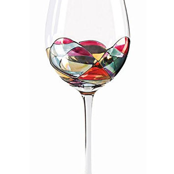 Beautiful Hand Painted Large Wine Glasses - Set of 2 - Unique Gifts for Women, Men, Wedding, Anniversary, Couples, Engagement - Personalized Gifts Ideas for Her, Him, Birthday, Mom, Dad, Hostess, Housewarming, Best Friends, Retirement, Christmas