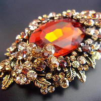 Topaz Glass Rhinestone Victorian Brooch-Pendant, Floral Motif, Vintage
