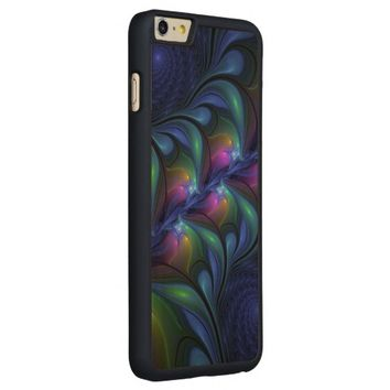 Colorful Luminous Abstract Blue Pink Green Fractal Carved® Maple iPhone 6 Plus Case