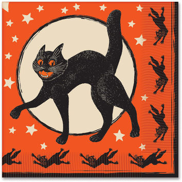 halloween vintage 2-ply luncheon napkins - 16 ct Case of 12