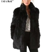 Women Fur Coats Mandarin Collar Long Winter Fur Coat Slim Faux Fur Ladies Long Sleeves Plus Size Black Coats Female SWQ0246-4