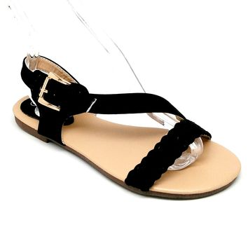 Women's Black Sandals with Braiding Detail