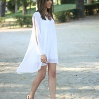 White Chiffon Open Arm Dress | SPREDFASHION