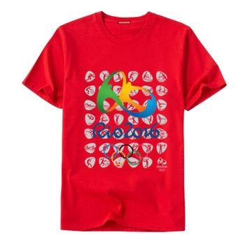 Rio 2016 Olympic Games Round Neck Tee Commemorative Sports T-shirt -XXL Red