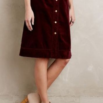 Holding Horses Button-Front Cord Skirt in Wine Size: