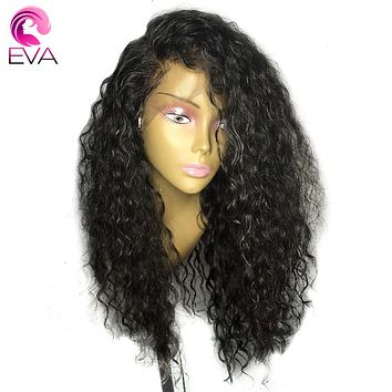 Eva Hair 180% Density 360 Lace Frontal Wigs Pre Plucked With Baby Hair Brazilian 100% Remy Curly Human Hair Wigs For Black Women