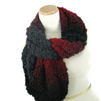 Knit Infinity Scarf, Red Black Scarf, Knit Scarf, Knit Cowl, Snood, Gift For Her, Fiber Art, Women Scarf, Fashion Scarf, Circle Scarf,