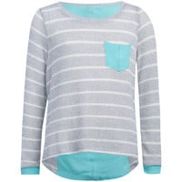 Full Tilt Pop Back Girls Top Grey Combo  In Sizes