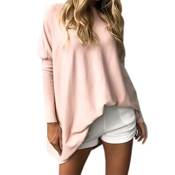 Women's Pink Casual Dolman Sleeve Long Tunic Length Sweater Top