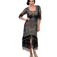 Nataya 1930s Style Black & Silver Three-Quarter Sleeve Embroidered Tulle Tea Length Dress
