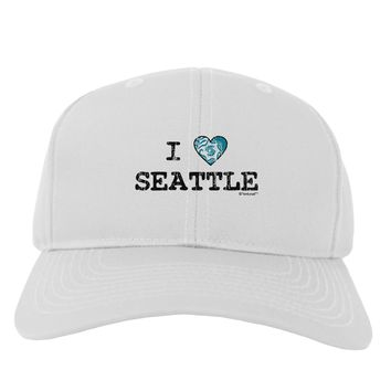 Distressed I Heart Seattle - Heart Flag Adult Baseball Cap Hat by TooLoud