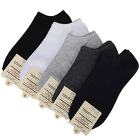 5 pairs/ Lot hot sale Women's short boat socks brand high quality polyester breathable casual 3 Pure Colors sock free shipping