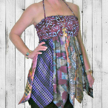 Upcycled Necktie Skirt or Top, ON SALE-20% OFF! OOAK Handmade Fashion ~ Altered Clothing by Pandora's Passions