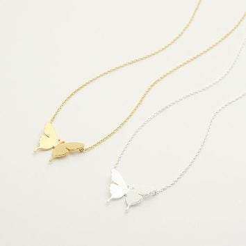 Swallowtail Butterfly Necklace / dainty butterfly, monarch butterfly, butterfly pendant necklace, minimalist / N055