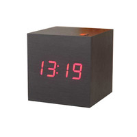 1pcs New Modern Wooden Wood Digital LED Desk Alarm Clock Thermometer Timer Calendar