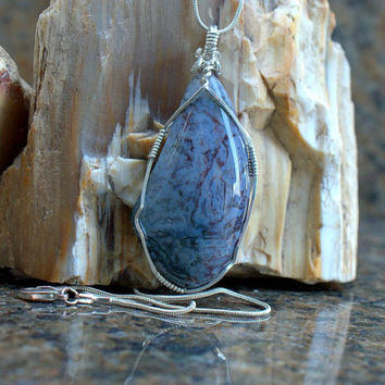 Blood stone pendant Natural gem free form shape silver wire wrapped with silver plated necklace