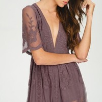 Gemma Lace Midnight Lavender Maxi Dress