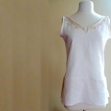 Natural linen tunic top