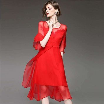 Silk Womens Dress Lace Solid Half Butterfly Sleeve 2 Colors