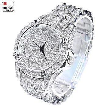 Jewelry Kay style Men's Fashion Stainless Steel Back Iced Out Heavy Metal Band Watches WM 7754 S