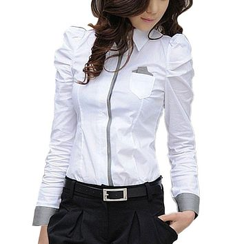 N Fashion Elegant Women Office Lady Formal Button Down Blusas Shirt Long Sleeve White Tops Blouse 2019