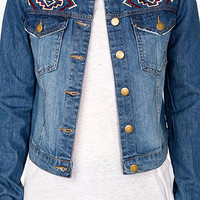 Distressed Southwestern Denim Jacket | FOREVER 21 - 2030683233