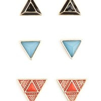 MULTICOLORED TRIANGLE STUD EARRINGS - 3 PACK