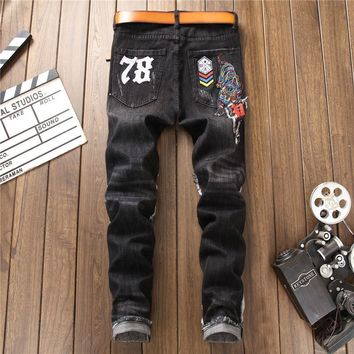 Ripped Holes Style Embroidery Slim Black Jeans [1563338932317]