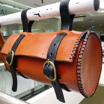 round tool bag bicycle leather satchel handmade tan