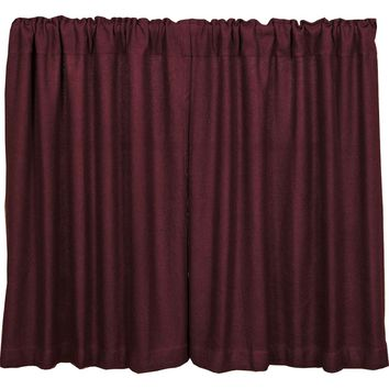 Burlap Merlot Tier Curtains 36""