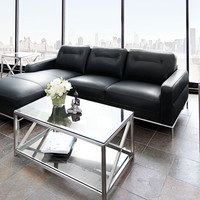 Sable LF Chaise Sectional with Metal Trim by Diamond Sofa - Black