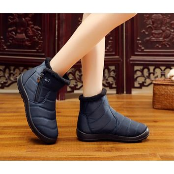 Women Snow Boots Ankle Warm Waterproof Cold Weather Flat Casual Shoes