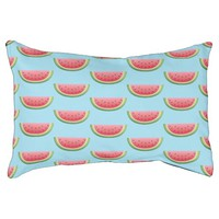 Watermelon Pieces Pattern On Blue Pet Bed