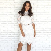 Paradise In Lace Crochet Midi Dress In White