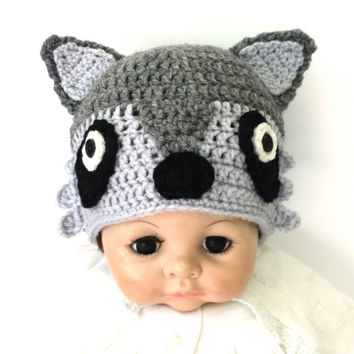 Crochet Baby Raccoon Hat, kids funny animal beanie