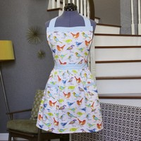 Aprons for Women Birds, Aprons with Pockets, Womens Aprons,  Off White Blue Yellow Orange Apron, Colorful Handmade Aprons, Cute, Janet Apron