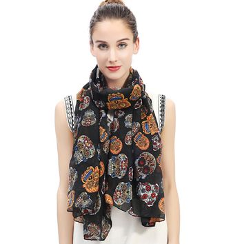 Day of the Dead Multicolored Sugar Skull Print Women's Large Scarf Shawl Wrap Soft Lightweight for All Seasons