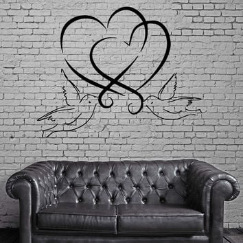Hearts And Doves Love Marriage Wedding  Decor Wall MURAL Vinyl Art Sticker z796