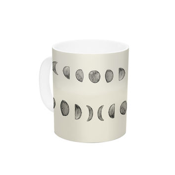 "KESS Original ""Phases Of The Moon"" Beige Gray Ceramic Coffee Mug"