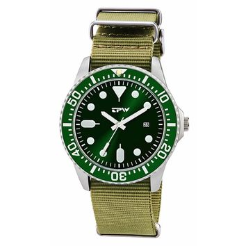 military mens watch nylon bane changeable strap rototary bezel steel case green color dial mens watches unique design watches
