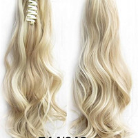 Beauty Wig World 20inch 50cm 100g Long Wave Curly Double Usage Synthetic Hair Clip Ponytails Pony Tail Hair Extensions - #14/613 Medium Blonde/bleach blonde