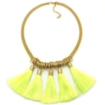 Neon Yellow Tassel Statement Necklace