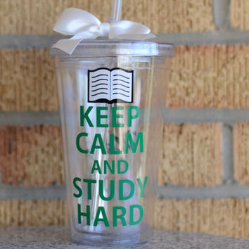 Keep Calm and Study Hard  - Student Gift - Graduation Gift - Collage Gift - Personalize with Name