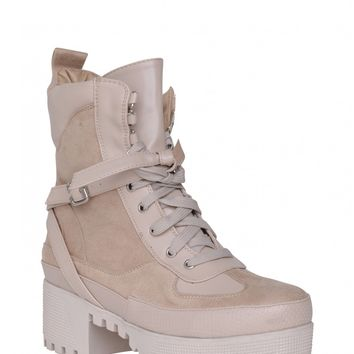 Decline Chunky Platform Lace Up Biker Ankle Boots In Nude Faux Suede