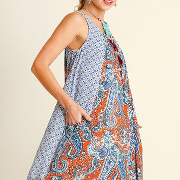 Boho Paisley Dress - Orange Mix