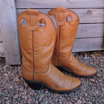 Vintage Olathe boots / size 6.5 womens EU 37 / 1970s camel brown leather Olathe cowboy boots / cowgirl boots made in Olathe KS USA
